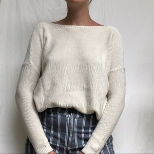 THEORY CASHMERE BLEND Boatneck Sweater S Cream